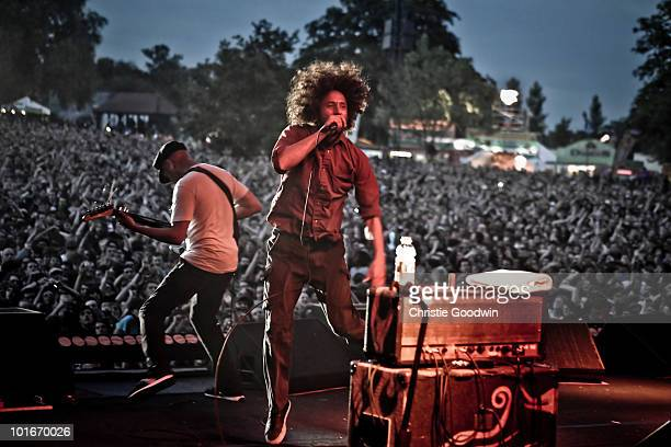 Tom Morello and Zach De La Rocha of Rage Against The Machine performs on stage as part of a free concert at Finsbury Park on June 6 2010 in London...