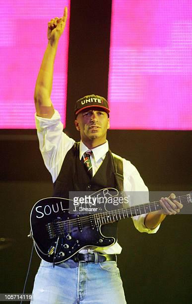 Tom Morello of Audioslave during The 1067 KROQ Weenie Roast Concert 2005 Show at Verizon Wireless Amphitheatre in Irvine California United States