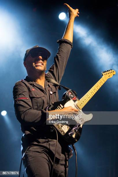 Tom Morello of Prophets of Rage performa during the 2017 Voodoo Music Arts Experience at City Park on October 27 2017 in New Orleans Louisiana