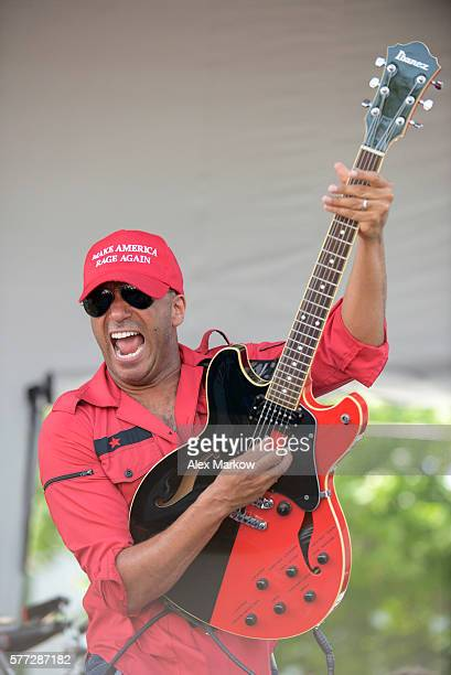 Tom Morello of Prophets of Rage performs at End Poverty Now rally before marching downtown to RNC on July 18 2016 in Cleveland Ohio