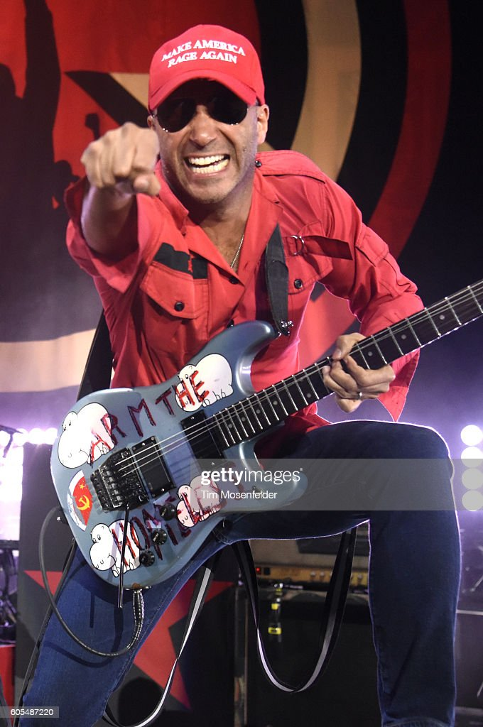 Tom Morello of Prophets of Rage performs at Shoreline Amphitheatre on September 14, 2016 in Mountain View, California.