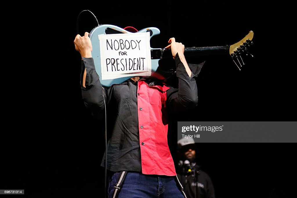 Tom Morello of Prophets of Rage performs during the 'Make America Rage Again' tour at Barclays Center on August 27, 2016 in New York City.