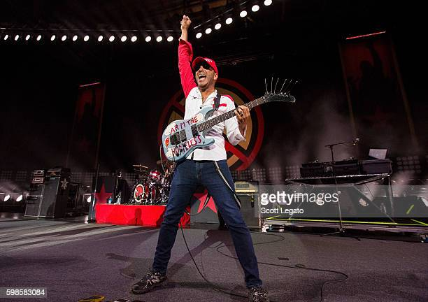 Tom Morello of Prophets of Rage performs in support of the Nobody For President Tour 2016 at DTE Energy Music Theater on September 1 2016 in...