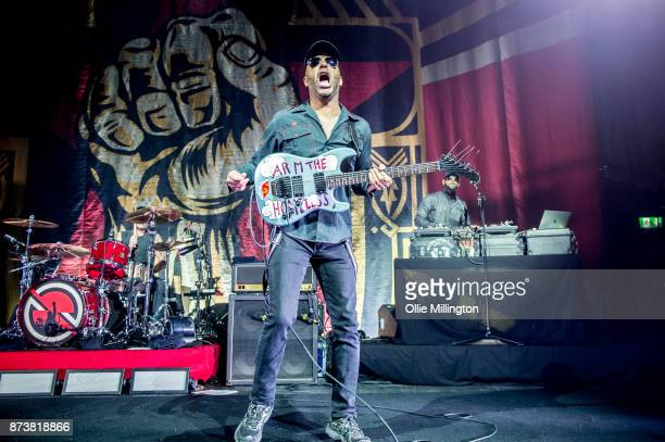 Tom Morello of Public Enemy and DJ Lord of Public Enemy perform as part of Prophets of Rage live on stage at the O2 Forum Kentish Town on November 13...