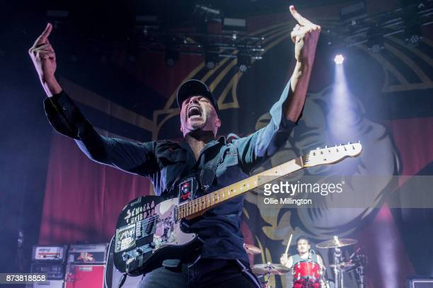 Tom Morello of Rage Against The Machine performs as part of Prophets of Rage live on stage at the O2 Forum Kentish Town on November 13 2017 in London...