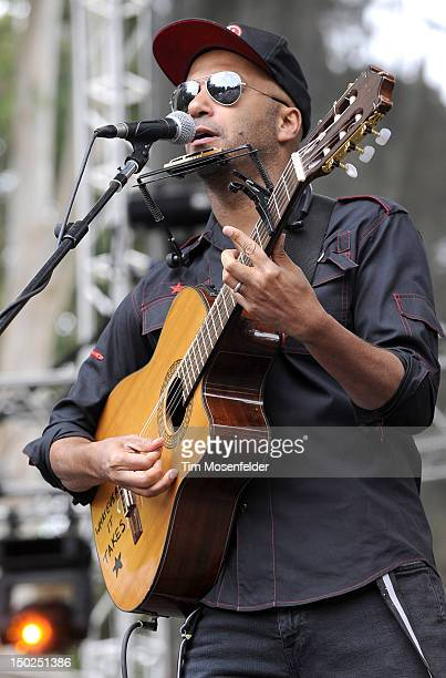 Tom Morello performs as The Nightwatchman on day three of the Outside Lands Music Art Festival at Golden Gate Park on August 12 2012 in San Francisco...