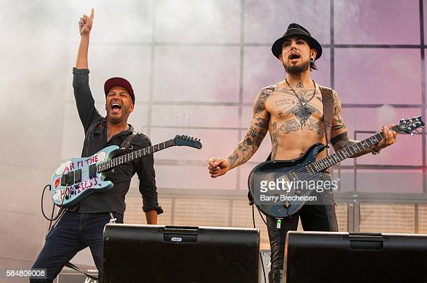 Tom Morello with Dave Navarro of Jane's Addiction perform during 2016 Lollapalooza Day Three at Grant Park on July 30 2016 in Chicago Illinois