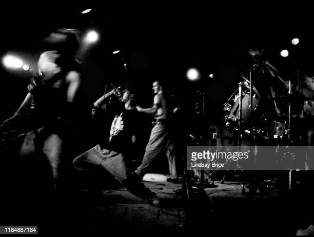 Tom Morello Zack de la Rocha Brad Wilk and Tim Commerford perform at Nomads on July 3 1992 in Los Angeles