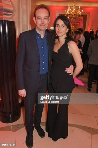 Tom Mullion and Emily Sheffield attend a drinks reception at the London Evening Standard British Film Awards 2018 at Claridge's Hotel on February 8...