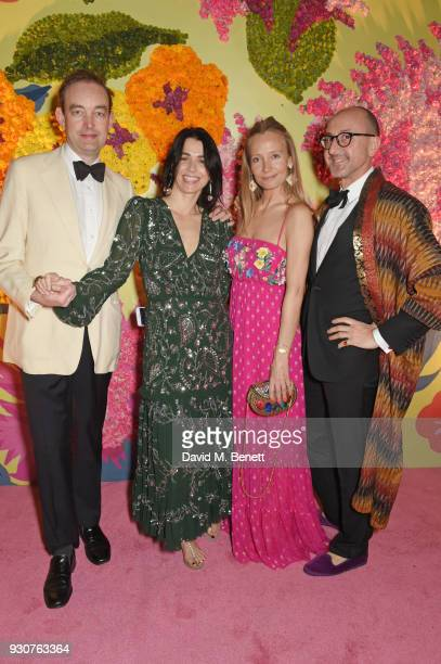Tom Mullion Emily Sheffield Martha Ward and Gianluca Longo attend the Holi Saloni celebrations in the RAAS Devigarh on March 9 2018 in Udaipur India