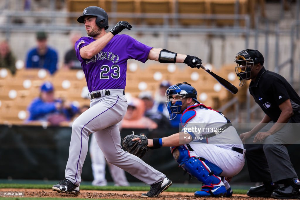 Tom Murphy #23 of the Colorado Rockies bats in the fourth inning during a spring training game against the Los Angeles Dodgers at Camelback Ranch on February 27, 2017 in Glendale, Arizona.