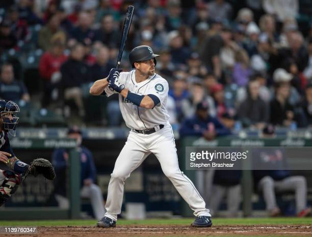 Tom Murphy of the Seattle Mariners waits for a pitch during an atbat in game against the Boston Red Sox at TMobile Park on March 30 2019 in Seattle...