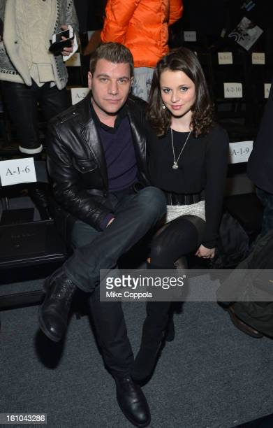 Tom Murro and ice skater Sasha Cohen attend the Nicole Miller Fall 2013 fashion show during MercedesBenz Fashion Week at The Studio at Lincoln Center...