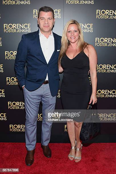 Tom Murro and Kelly Murro attend the Florence Foster Jenkins New York premiere at AMC Loews Lincoln Square 13 theater on August 9 2016 in New York...