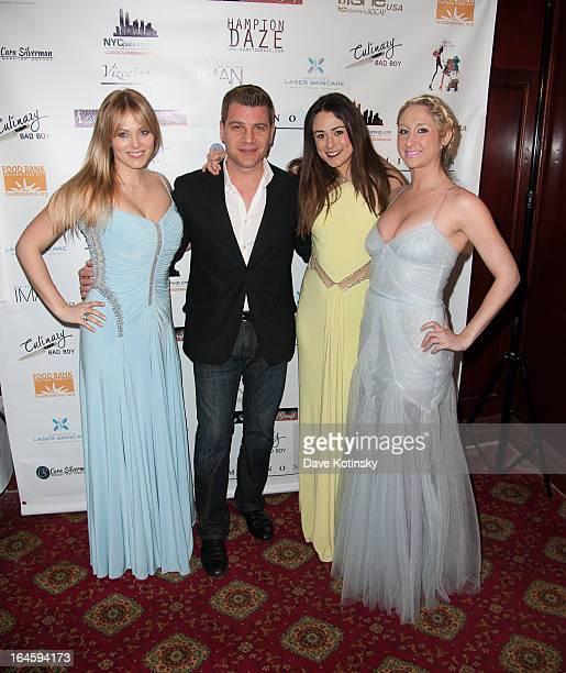 Tom Murro and The Bachelor contestants Rachel Truehart Jeena Burke and Jaclyn Swartz attend Dinner Parties Rock Benefiting Food Bank For New York...
