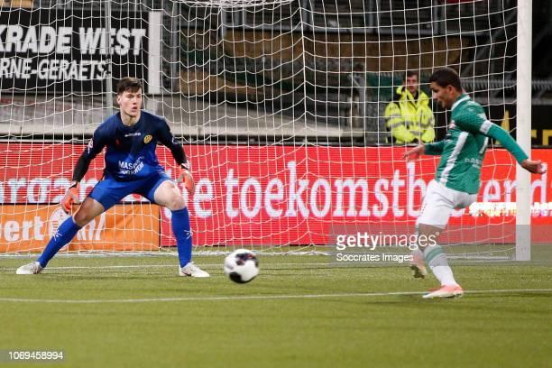 Tom Muyters of Roda JC Omran Haydary of FC Dordrecht during the Dutch Keuken Kampioen Divisie match between Roda JC v FC Dordrecht at the Parkstad...