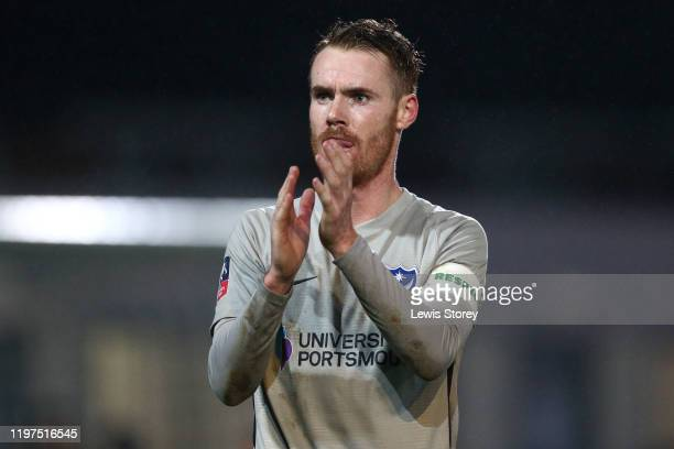 Tom Naylor of Portsmouth FC reacts to the fans following the FA Cup Third Round match between Fleetwood Town and Portsmouth FC at Highbury Stadium on...