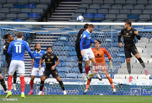 Tom Naylor of Portsmouth scores his team's first goal during the Sky Bet League One match between Portsmouth and Milton Keynes Dons at Fratton Park...