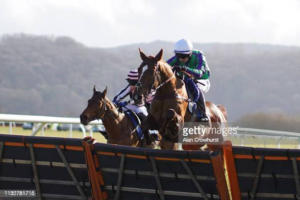 Tom O'Brien riding At Its Own Expense clear the last to win The Invest Southwest Novices' Hurdle at Taunton Racecourse on February 28 2019 in Taunton...