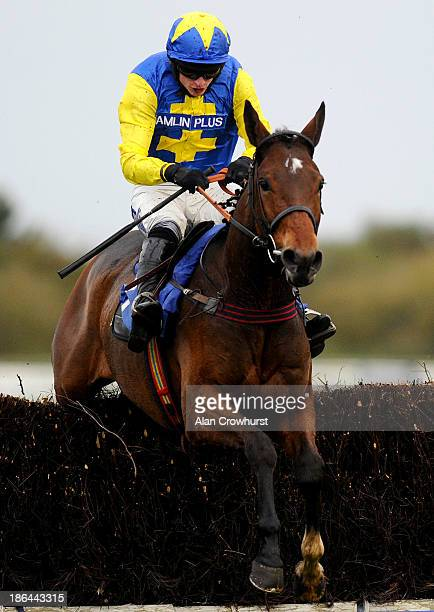 Tom O'Brien riding Danandy clear the last to win The John Smith's Handicap Steeple Chase at StratfordUponAvon racecourse on October 31 2013 in...