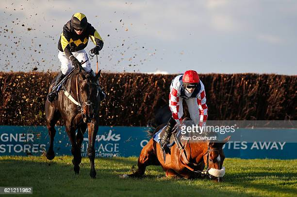 Tom O'Brien riding Gentleman Jon clear the last to win The Badger Ales Trophy Handicap Steeple Chase as Harry Cobden riding Southfield Theatre fall...