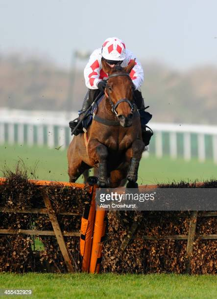 Tom O'Brien riding Rule Of Thumb clear the last to win The Betfred Fun And Friendley handicap Hurdle Race at Huntingdon racecourse on December 12...