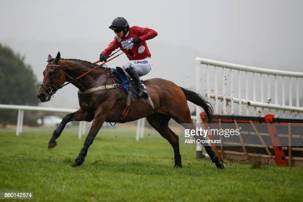 Tom O'Brien riding The Statesman clear the last to win The Queen Elizabeth Humanities College Racing To School Juvenile Maiden Hurdle Race at Ludlow...
