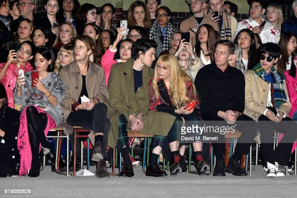 Tom Odell James Bay Paloma Faith and George Ezra wearing Burberry at the Burberry February 2018 show during London Fashion Week at Dimco Buildings on...