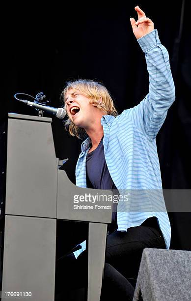 Tom Odell performs on day 1 of the V Festival at Weston Park on August 17 2013 in Stafford England