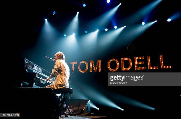 Tom Odell performs on stage at Brixton Academy on February 8 2014 in London United Kingdom
