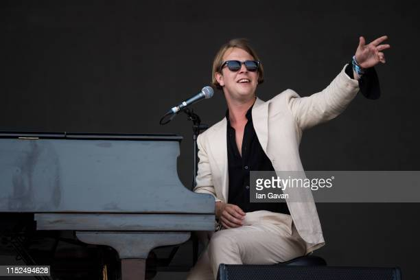 Tom Odell performs on the Pyramid Stage during day three of Glastonbury Festival at Worthy Farm Pilton on June 28 2019 in Glastonbury England...