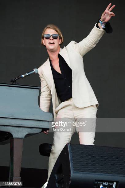 Tom Odell performs on The Pyramid Stage during day three of Glastonbury Festival at Worthy Farm Pilton on June 28 2019 in Glastonbury England