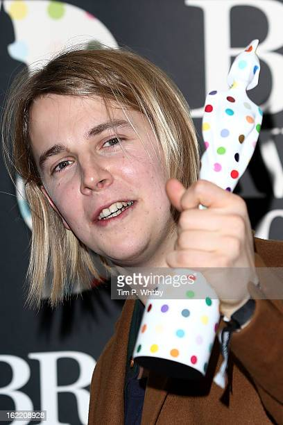 Tom Odell poses with the Critic's Choice Award in the press room at the Brit Awards 2013 at the 02 Arena on February 20 2013 in London England