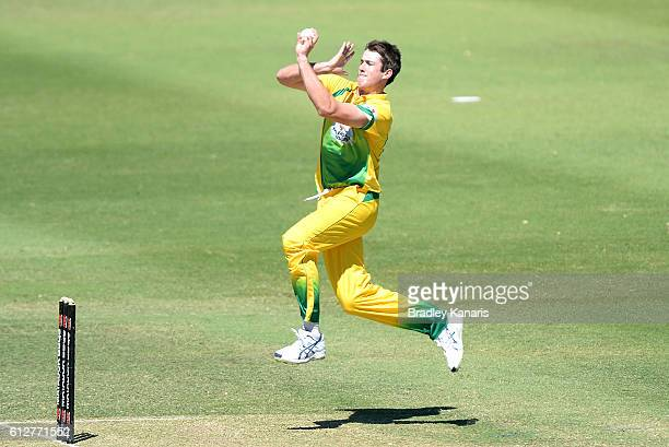 Tom O'Donnell of CA XI bowls during the Matador BBQs One Day Cup match between Tasmania and the Cricket Australia XI at Allan Border Field on October...