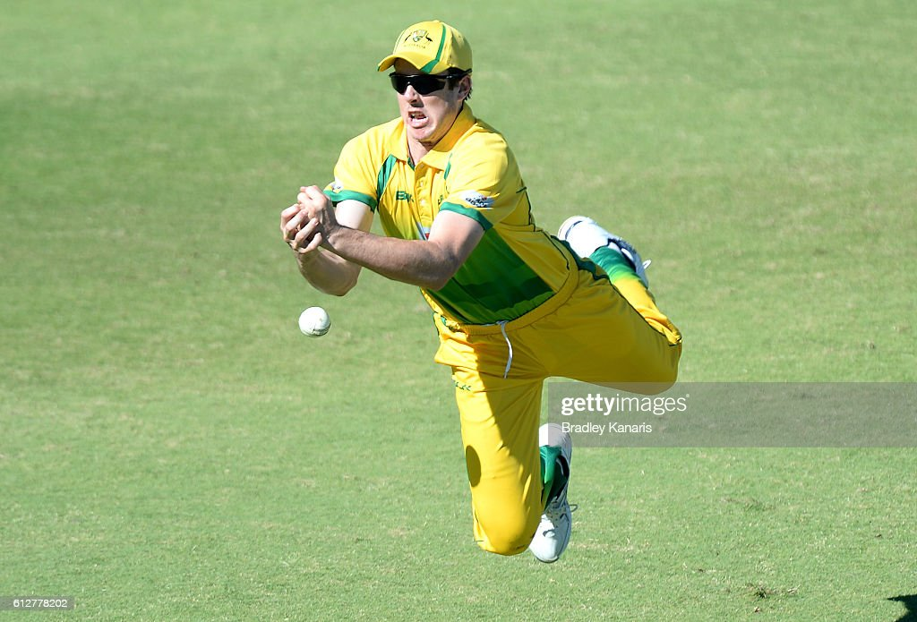 Tom O'Donnell of the CA XI drops a catch during the Matador BBQs One Day Cup match between Tasmania and the Cricket Australia XI at Allan Border Field on October 5, 2016 in Brisbane, Australia.