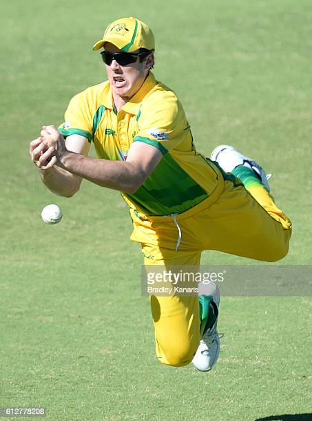 Tom O'Donnell of the CA XI drops a catch during the Matador BBQs One Day Cup match between Tasmania and the Cricket Australia XI at Allan Border...