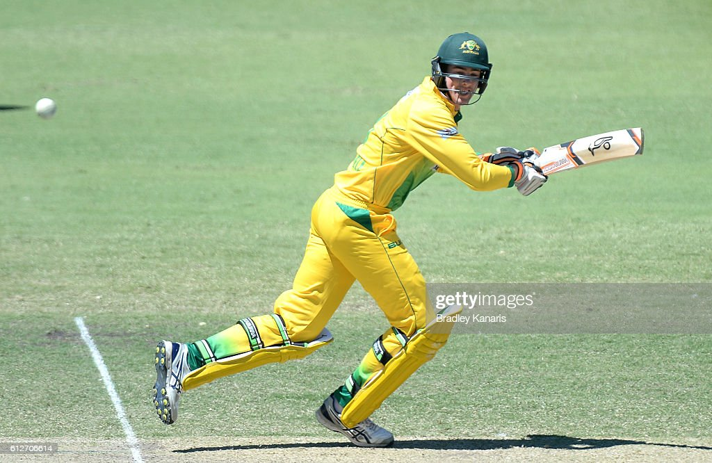 Tom O'Donnell of the CA XI plays a shot during the Matador BBQs One Day Cup match between Tasmania and the Cricket Australia XI at Allan Border Field on October 5, 2016 in Brisbane, Australia.