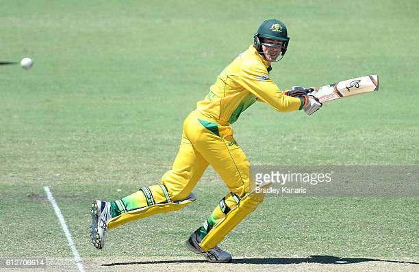 Tom O'Donnell of the CA XI plays a shot during the Matador BBQs One Day Cup match between Tasmania and the Cricket Australia XI at Allan Border Field...