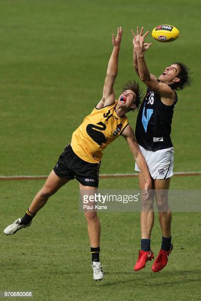 Tom O'Donnell of WA and Ben King of VIC metro contest for a mark during the 2018 NAB AFL Under18 Championships match between Western Australia and...