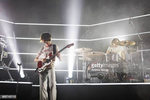 Tom Ogden and Joe Donovan of Blossoms perform live on stage at O2 Academy Leeds on May 7, 2018 in Leeds, England.
