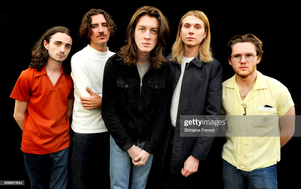 Tom Ogden, Charlie Salt, Josh Dewhurst, Joe Donovan and Myles Kellock of Blossoms pose backstage at Leeds Festival at Bramhall Park on August 25, 2017 in Leeds, England.