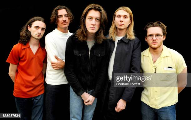 Tom Ogden Charlie Salt Josh Dewhurst Joe Donovan and Myles Kellock of Blossoms pose backstage at Leeds Festival at Bramhall Park on August 25 2017 in...