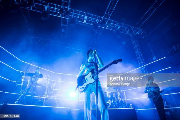 Tom Ogden, Joe Donovan and Charlie Salt of Blossoms perform live on stage at O2 Academy Leeds on May 7, 2018 in Leeds, England.