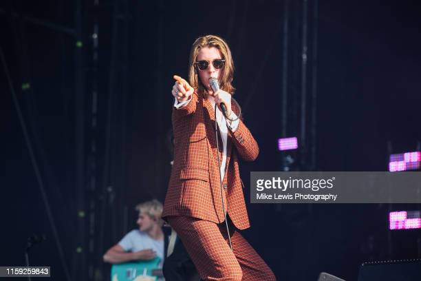 Tom Ogden of Blossoms performs on stage at Finsbury Park on June 30 2019 in London England