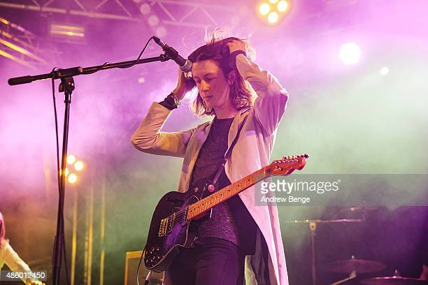 Tom Ogden of Blossoms performs on the Festival Republic stage during day 3 of Leeds Festival at Bramham Park on August 30 2015 in Leeds England