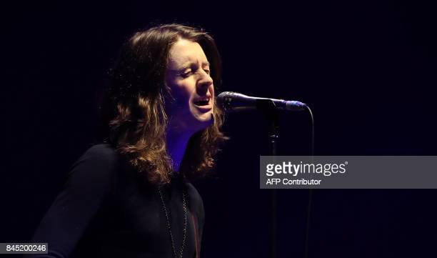 Tom Ogden of British indie pop band Blossoms performs during the 'We Are Manchester' charity concert at the Manchester Arena in Manchester northwest...