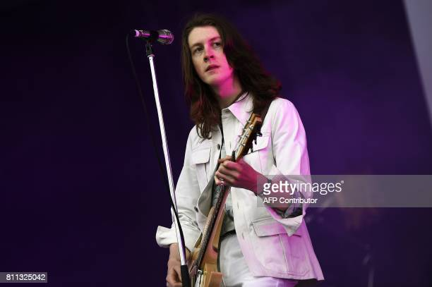Tom Ogden of English rock band Blossoms performs on the Main Stage on the third day of the TRNSMT music Festival on Glasgow Green in Glasgow Scotland...