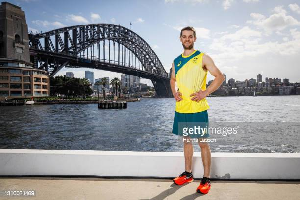 Tom O'Halloran poses during the Australian Olympic Team Tokyo 2020 uniform unveiling at the Overseas Passenger Terminal on March 31, 2021 in Sydney,...