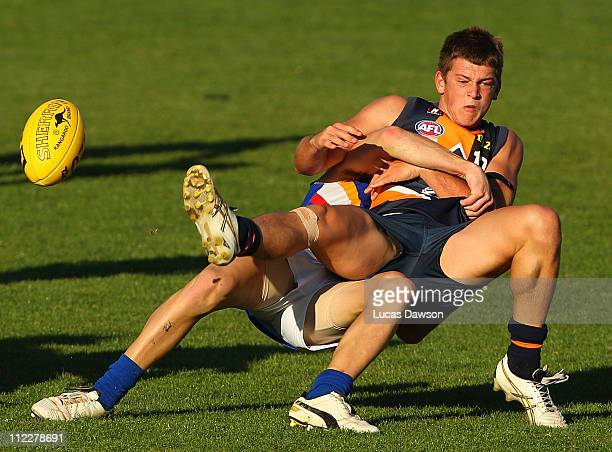 Tom O'Loughlin of the Cannons is tackled during the round three TAC Cup match between the Calder Cannons and the Eastern Ranges at Visy Park on April...