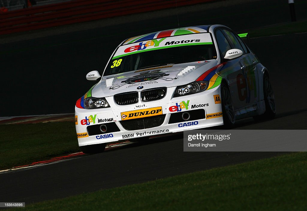 Tom Onslow-Cole of Great Britain drives the #38 EBAY Motors BMW 320Si during practice for the Dunlop MSA British Touring Car Championship race at the Silverstone Circuit on October 6, 2012 in Towcester, United Kingdom.